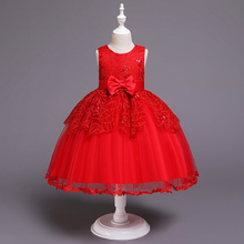 Girl Princess dress sequins sleeveless bow lace dress wedding ceremony hosting campus performance birthday party high-end dress ht0032 new fashion diamond bow double lace performance birthday pompom dress girl evening party dress
