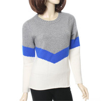 100% козья кашемир толстой вязки Женская мода лоскутное цвет полосатый пуловер свитер Oneck серый 2 вида цветов S 2XL розничная продажа микс