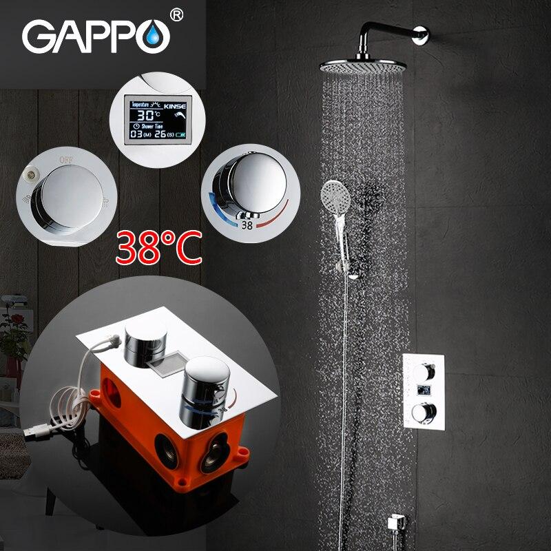GAPPO de luxe salle de bains chic tête de douche thermostatique précipitations ensemble de douche mitigeur thermostatique cascade douche système