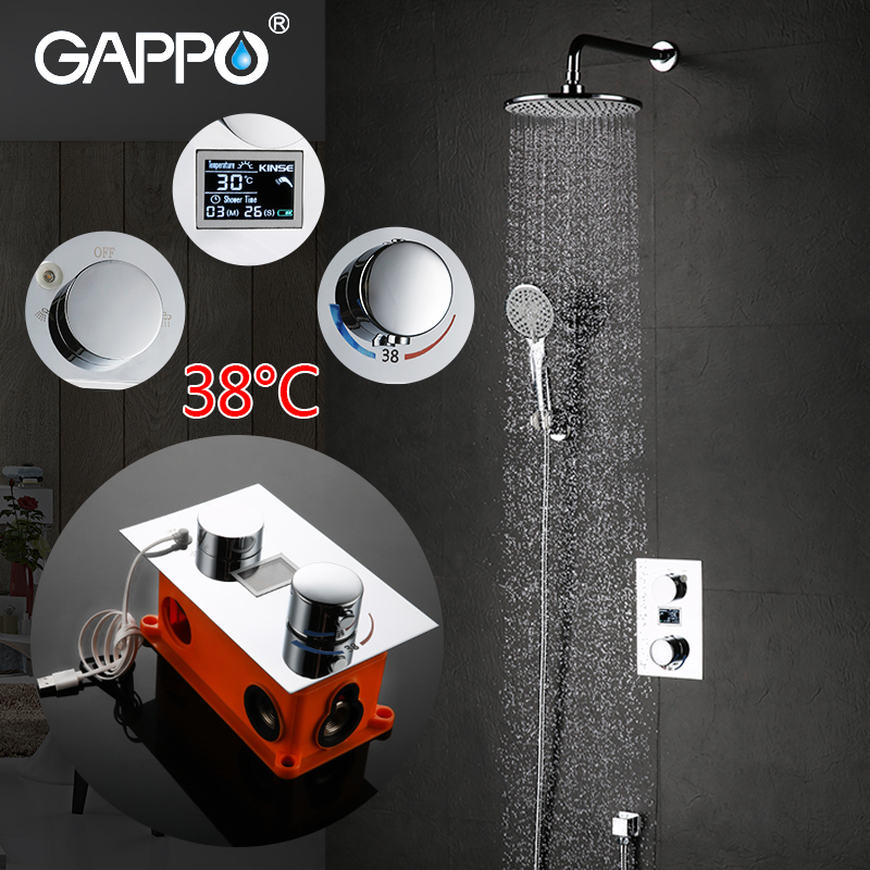 GAPPO luxury bathroom smart shower head thermostatic rainfall shower set thermostatic mixing valve waterfall shower system