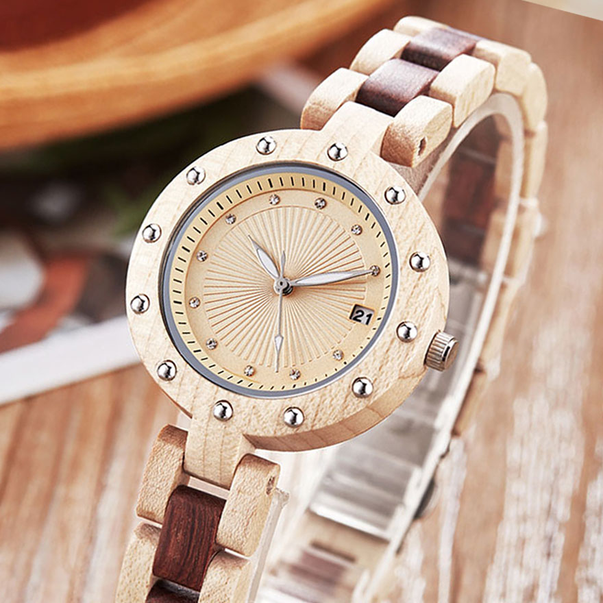 Natural Wood Watch Women Ladies Quartz Bracelet Wristwatches Rosewood Walnut Rose Wooden Band Charm Watches Small Wrist Clock
