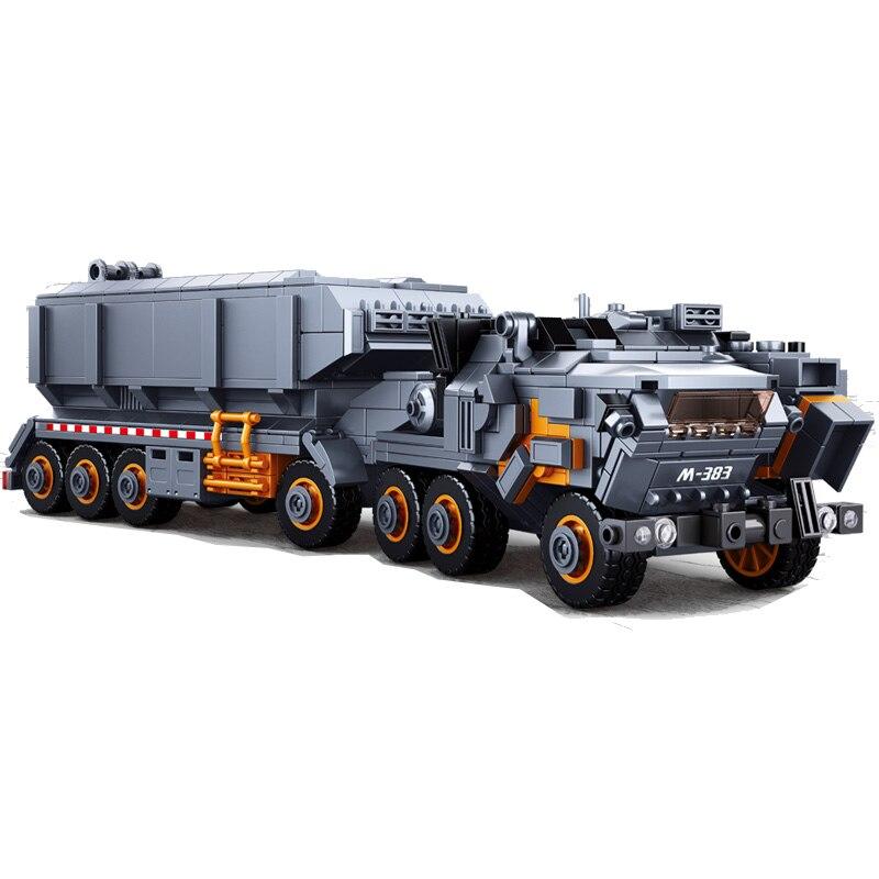 Militaire Modèle Building Block le Errant Terre Lourd véhicule de transport Camion 832 pièces Éducatifs Briques Jouet