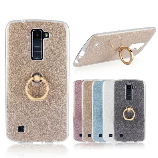 c0905a250fd Para LG K10 cubierta caso Glitter Polvos de maquillaje Anillos suave TPU  teléfono móvil caso para