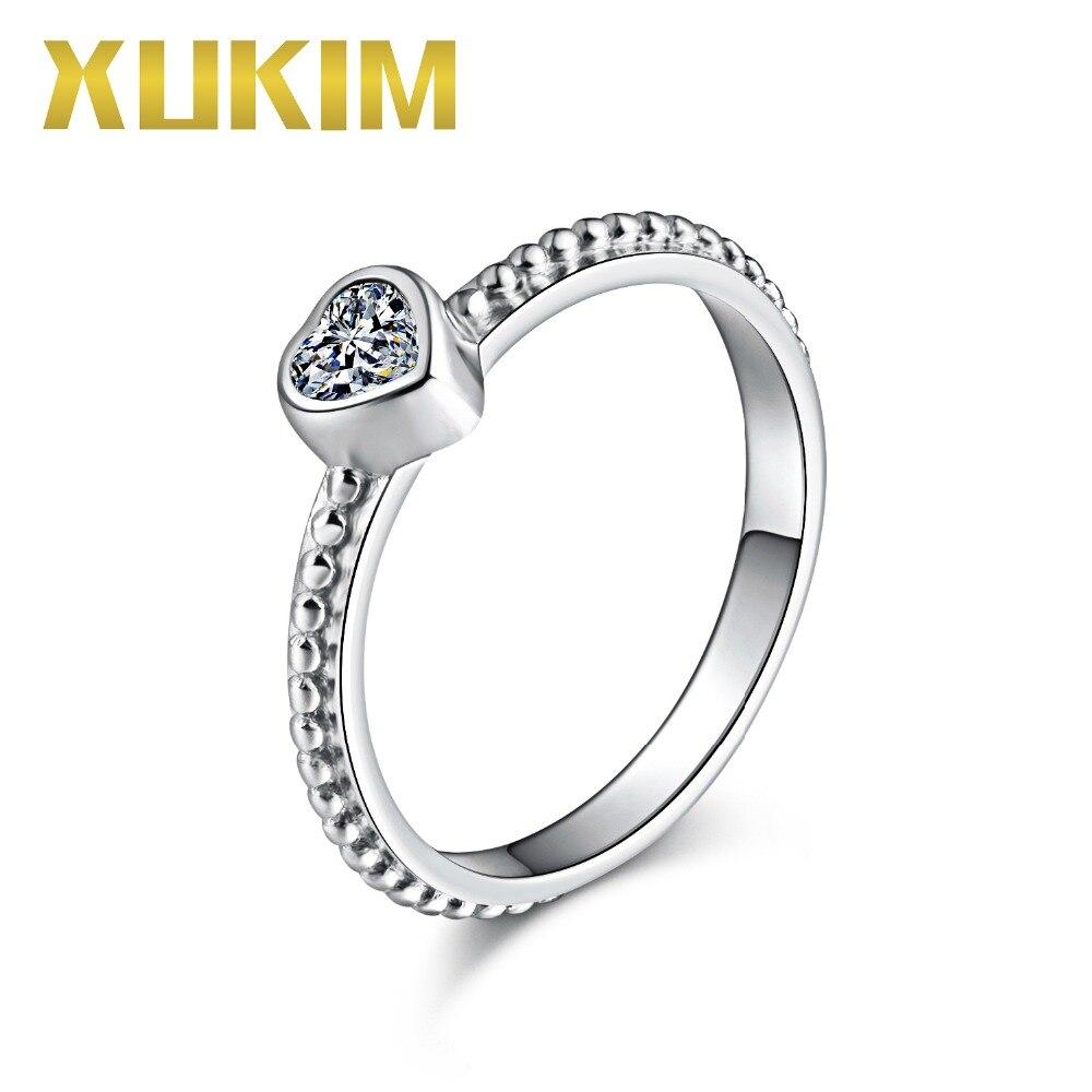 Xukim bijoux 925 en argent Sterling amour coeur blanc violet rouge pierre cubique zircone femmes mariage bague de fiançailles cadeau de fête