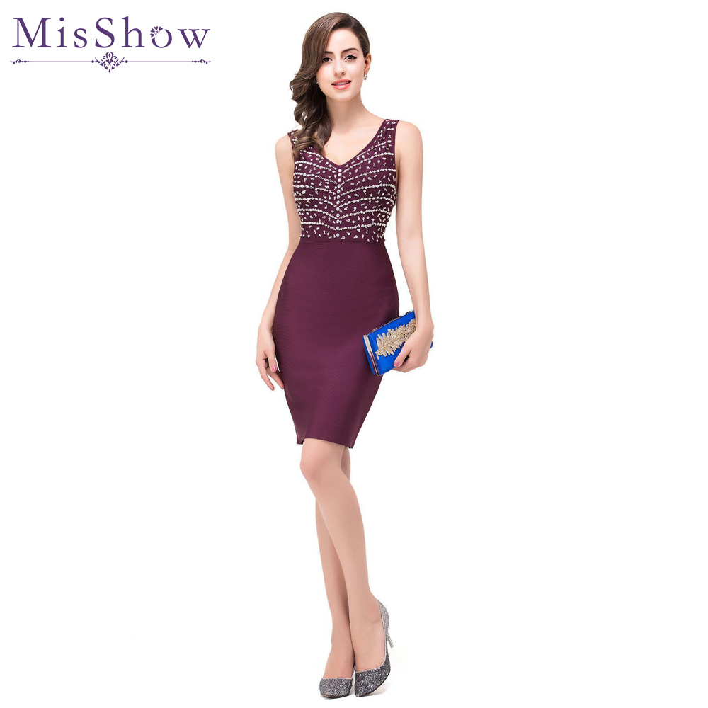 burgundy   Cocktail     Dresses   2019 Above Knee Ladies Sleeveless V-Neck Formal Gowns With Sequin Short bodycon   Cocktail   Party   Dress
