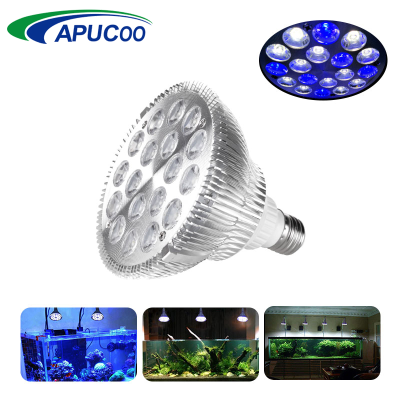 цена на E27 LED Aquarium Lighting 12 White 6 Blue Fish Tank Plant Indoor Grow Light Lamp For Aquarium Aquatic Pet Coral Reef Par38 Bulb