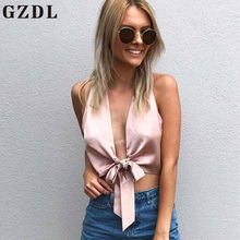 GZDL Sexy Plunge V Neck Satin Solid Fitness Female Tops Blusas Fashion Pink Women Bow Tie Front Blouse Shirt Sleeveless CL4035