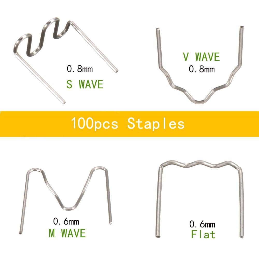 WHDZ Universal 100 Pcs/Set Precut 0.6mm-0.8mm Hot Wave Flat Staples For Plastic Stapler Repair Welder Repair Tool