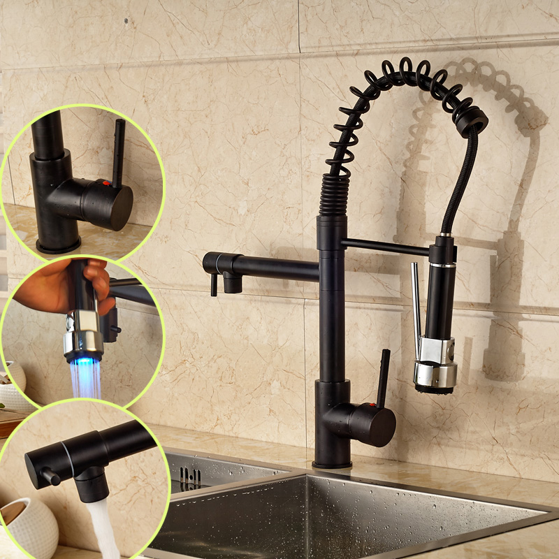 Deck Mounted Oil Rubbed Bronze Spring Pull Down Faucet Deck Mounted Kitchen Mixer Taps with LED