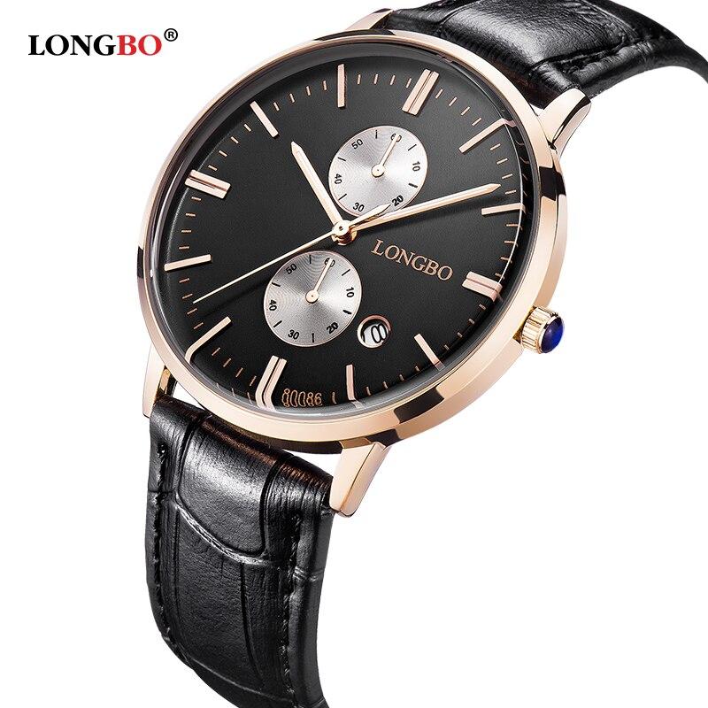 LONGBO Mens Watches Top Brand Luxury Quartz Watch Casual Leather Men Women WristWatch Couple Clock Relogio Masculino Reloj Mujer