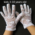 Child summer thin white lace gloves girls with performance dancing gloves kids white lace gloves