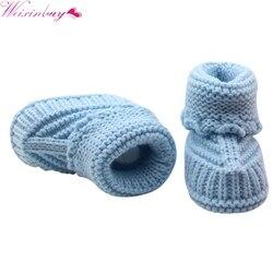 Ручной работы для новорожденных Детские кроватки обувь для младенцев вязаная крючком для девочек, для мальчиков трикотажные теплые зимние ...