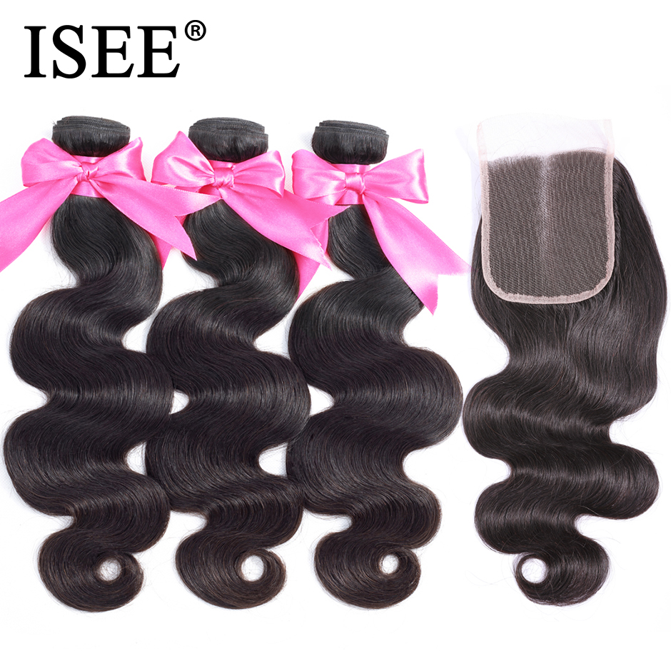ISEE HAIR Peruvian Body Wave With Closure 100 Remy Human Hair Bundles With Closure 3 Bundles