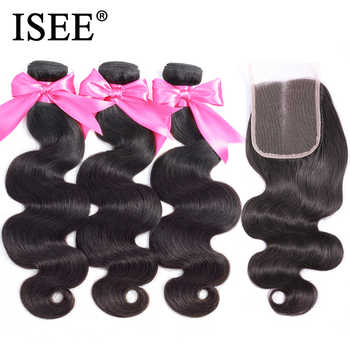 ISEE HAIR Peruvian Body Wave With Closure 100% Remy Human Hair Bundles With Closure 3 Bundles Hair With Closure Nature Color - DISCOUNT ITEM  47% OFF All Category