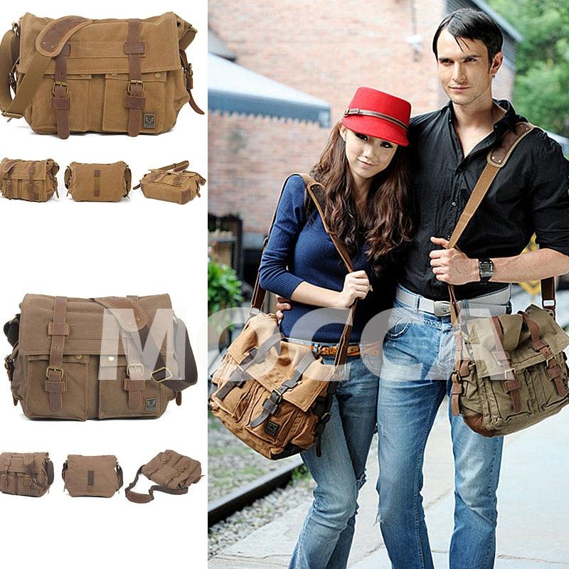vintage sacolas crossbody bolsas para Materials : Density Wash Canvas + Crazy Horse Genuine Leather Belt