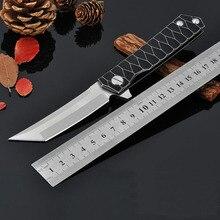 Nouveau Samurai Épée Critique Couteau Pliant D2 Lame Titanium Poignée Roulement À Billes Tactique Couteaux de Survie En Plein Air Chasse EDC Outil