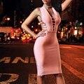 Мода 2017 Женщин Dress Vestidos Холтер Вырезать Повязку Dress Sexy Bodycon Club Dress Рукавов Повязку Dress Pink HL Оптовой