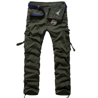 2016 New Multi-Pockets Men's Fasgion Camouflage Overalls Washed-Pocket Pants Mid-Rise Design Casual Cargo Trousers