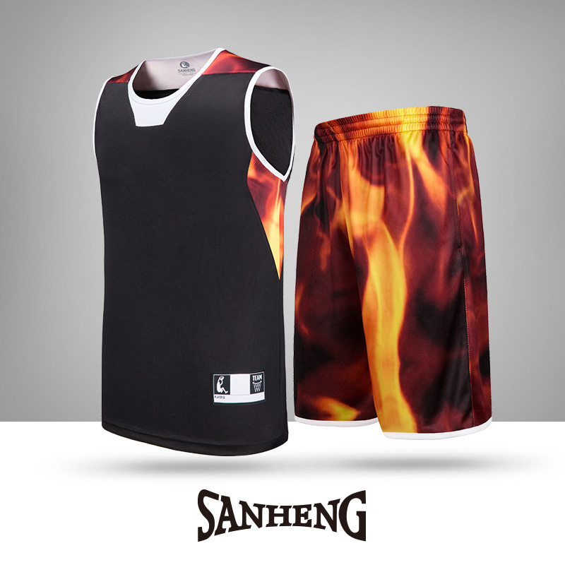 SANHENG Men 39 s Basketball Jersey Shorts Mens Competition Uniforms Suits With Pocket Quick Dry Custom Basketball Jerseys S116170 in Basketball Set from Sports amp Entertainment
