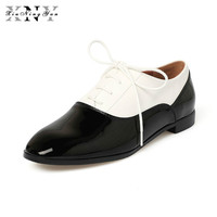 XiuNingYan 2018 Genuine Leather Woman Round Toe Vintage Flats Oxford Shoes Handmade Black White British Oxford