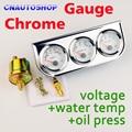 Cromo Triple Gauge Set Voltaje Temperatura del Agua Medidor de Prensa De Aceite 3 En 1 Kit de Coche Dashboard Whte Cara Aguja de Color Rojo