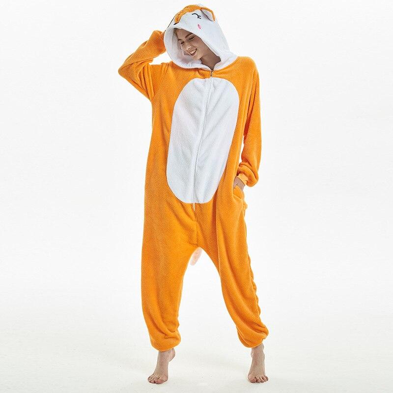 Amusing Orange Fox Animal Kigurumi Flannel Onesie Soft Women Pajamas Party Bodysuit Cosplay Unisex Sleepwear Halloween Pyjamas (3)