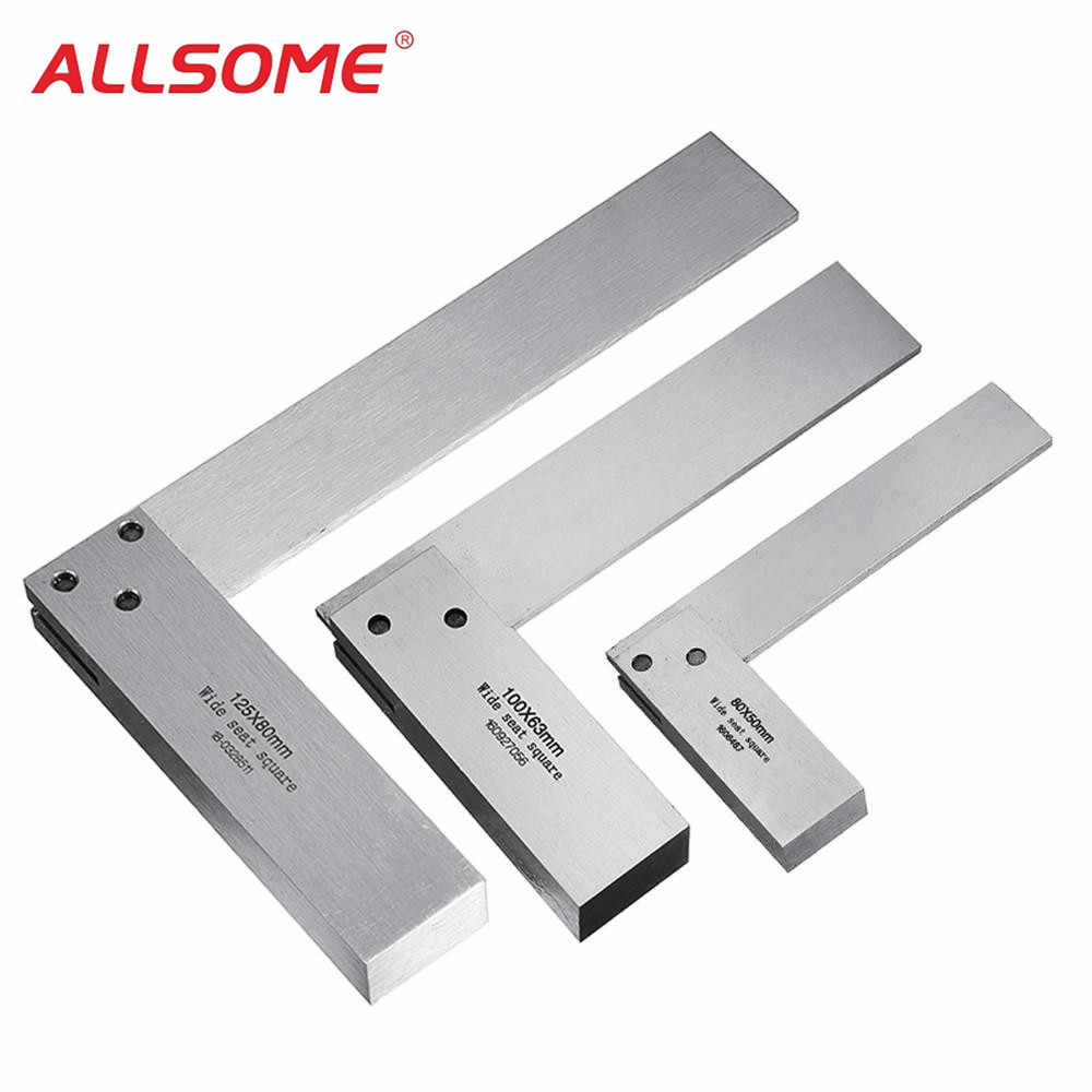 ALLSOME Machinist Square 90 Degree Right Angle Engineer Set Precision Ground Steel Hardened Angle Ruler HT2059-2064