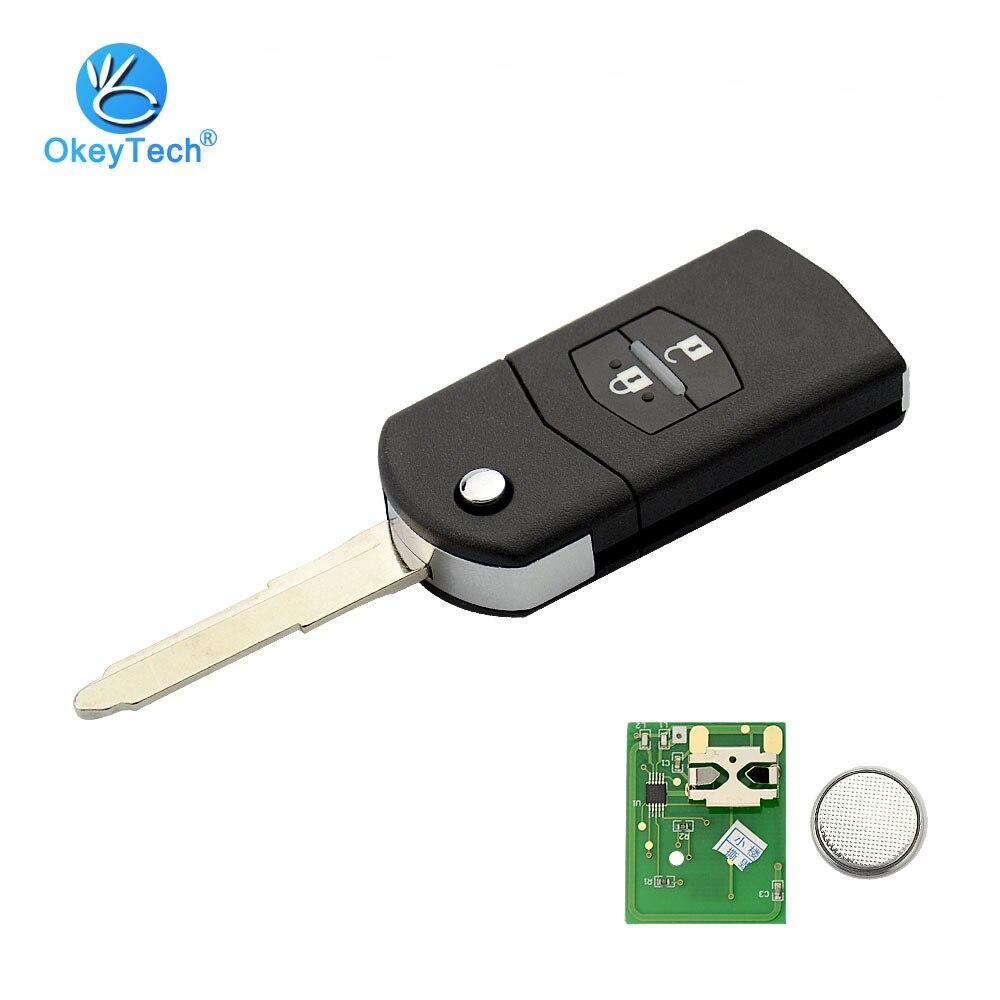OkeyTech Флип складной 2 кнопки 315/433 мГц 4D63 транспондера Chip Uncut пустой лезвие дистанционного Управление брелока автомобиля для Mazda 3 6 M3 M6