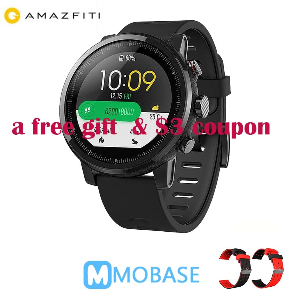 $2 coupon Amazfit Stratos Huami Astuto Della Vigilanza 2 5ATM Impermeabile Smartwatch 1.34 ''2.5D Dello Schermo di GPS della vigilanza di Sport Firstbeat nuoto