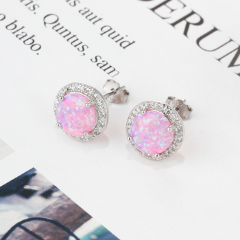 Classic 925 Sterling Silver Stud Earrings Round White Pink Blue Earrings with Cubic Zirconia Earrings Jewelry for Gifts
