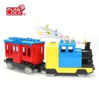Funlock Duplo pil pilli oyuncaklar tren blokları çocuklar için eğitici oyuncaklar elektrikli tren çocuklar için