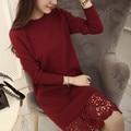 2016 hot sale женская весна осень длинным рукавом кружева лоскутная пуловер свитера женщин вязать о-образным вырезом свитер платья 4 цвета
