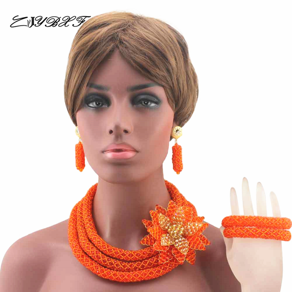 New Orange Big Flower Crystal Brooch Bib Statement Necklace Set Wedding African Nigerian Jewelry Set Brides Free Shipping HD8068