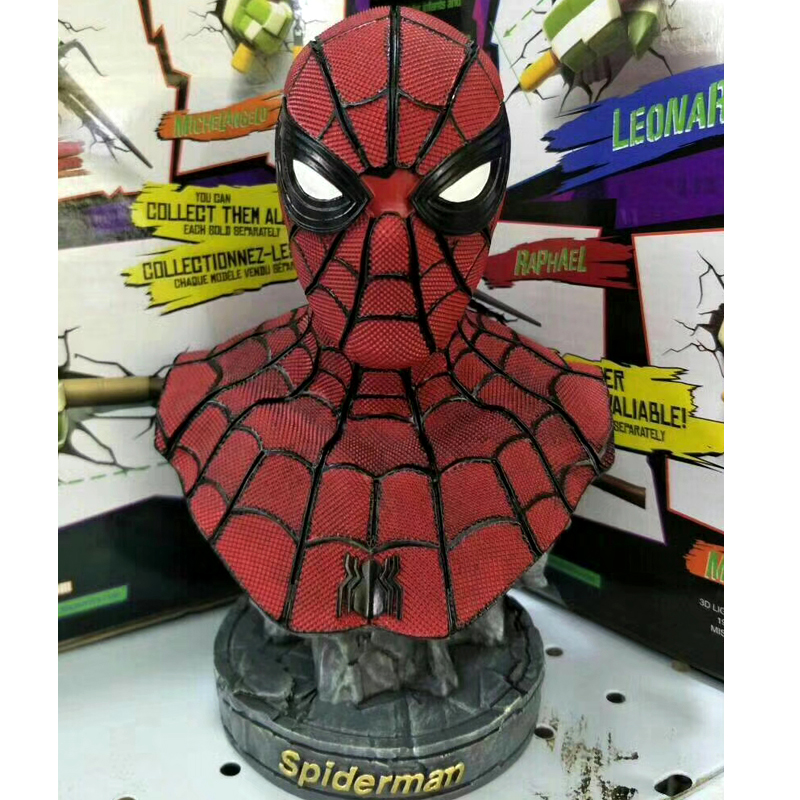 Statue Avengers Superhero Bust SpiderMan Peter Parker 1:4 Half-Length Photo Or Portrait Resin Collectible Spider-man Toy W133 statue avengers superhero hulk 1 4 bust robert bruce banner full length portrait resin imitation iron collectible model toy w236