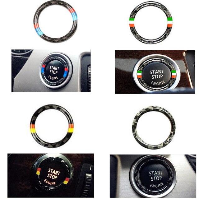 b863396f6c3a Carbon Fiber Car Engine Start Stop Ring Sticker For BMW E90 E92 E93 3  Series Car