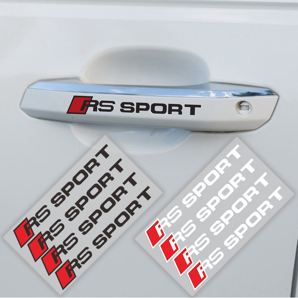 4pcs RS Sport Car Door Handle Rear Mirror Window Stickers auto Decal For Audi A3 A4 A5 A6 A8 Q3 Q5 Q7 VOLKSWAGEN VW car styling window closer for porsche cayenne panamera macan auto power car window roll up rearview mirror and remote open trunk