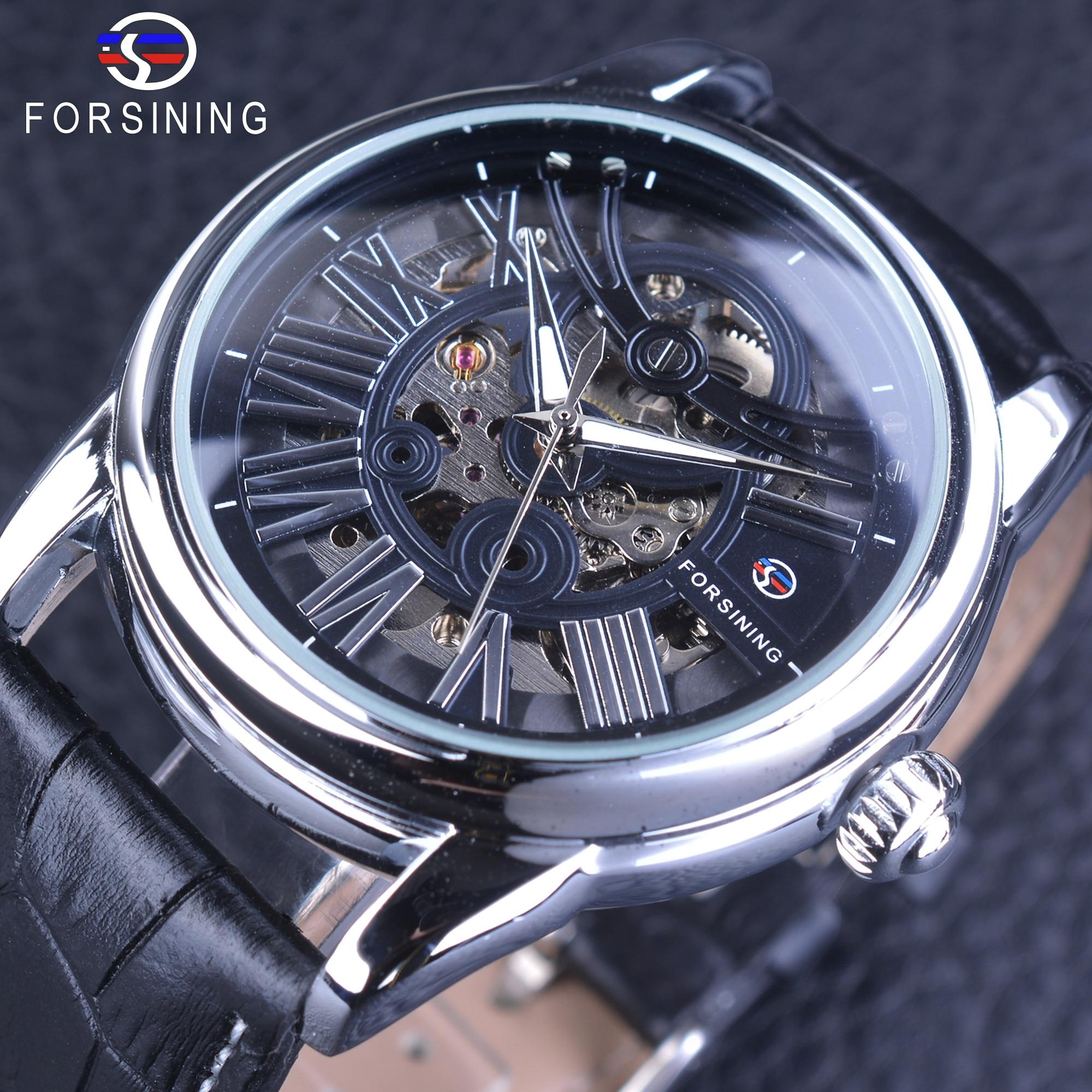Forsining Official Exclusive Sale Roman European Retro Wave Design Classic Transparent Men's Automatic Watches Genuine Leather