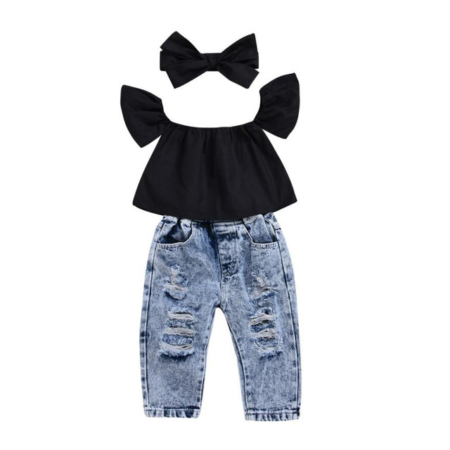 2f32adbe9132 Off Shoulder Tops T Shirts Denim Pants Hole Jeans 2Pcs Outfits Set ...