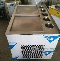 Free shipping 110V 220V R22 R404A Thailand Fried Ice Machine Square Double pot Fried Ice Cream Maker Make Roll Fried Yogurt