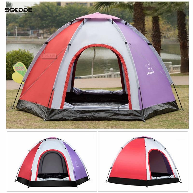SGODDE Extérieur 6 Personnes Automatique Tente Instantanée Jeter Pop-Up Randonnée Pêche Camping Tente De Plage Ensemble Étanche Grandes Tentes
