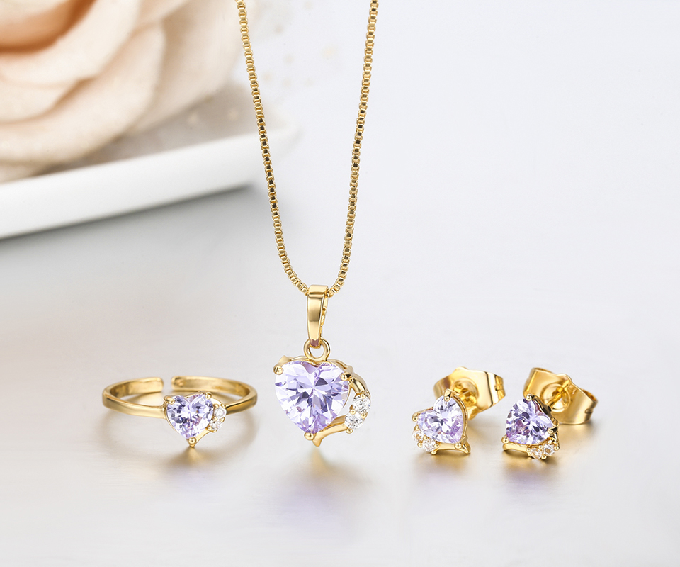 Alibaba aliexpress cute alibaba aliexpress cute gold color lavendar purple aaa cz heart cz ring pendant necklace and earrings small jewelry mozeypictures Choice Image