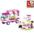Pink dream series merienda coche casa building block sets enlighten diy ladrillos educativos juguete figuras de p00