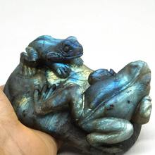 4.1Frog Flash Labradorite Animal Totem Statue Stone Sculpture Home Decor Gift