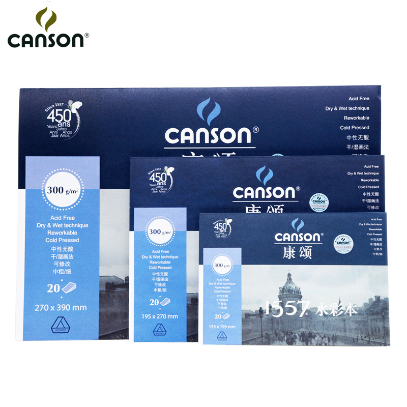 Canson 300g/m2 Professional Watercolor Paper 8K/16K/32K 20Sheets Hand Painting Creative Watercolor Painting Paper Art Supplies men wallets genuine leather top cowhide leather men s long wallet clutch wrist bag men card holder coin purse