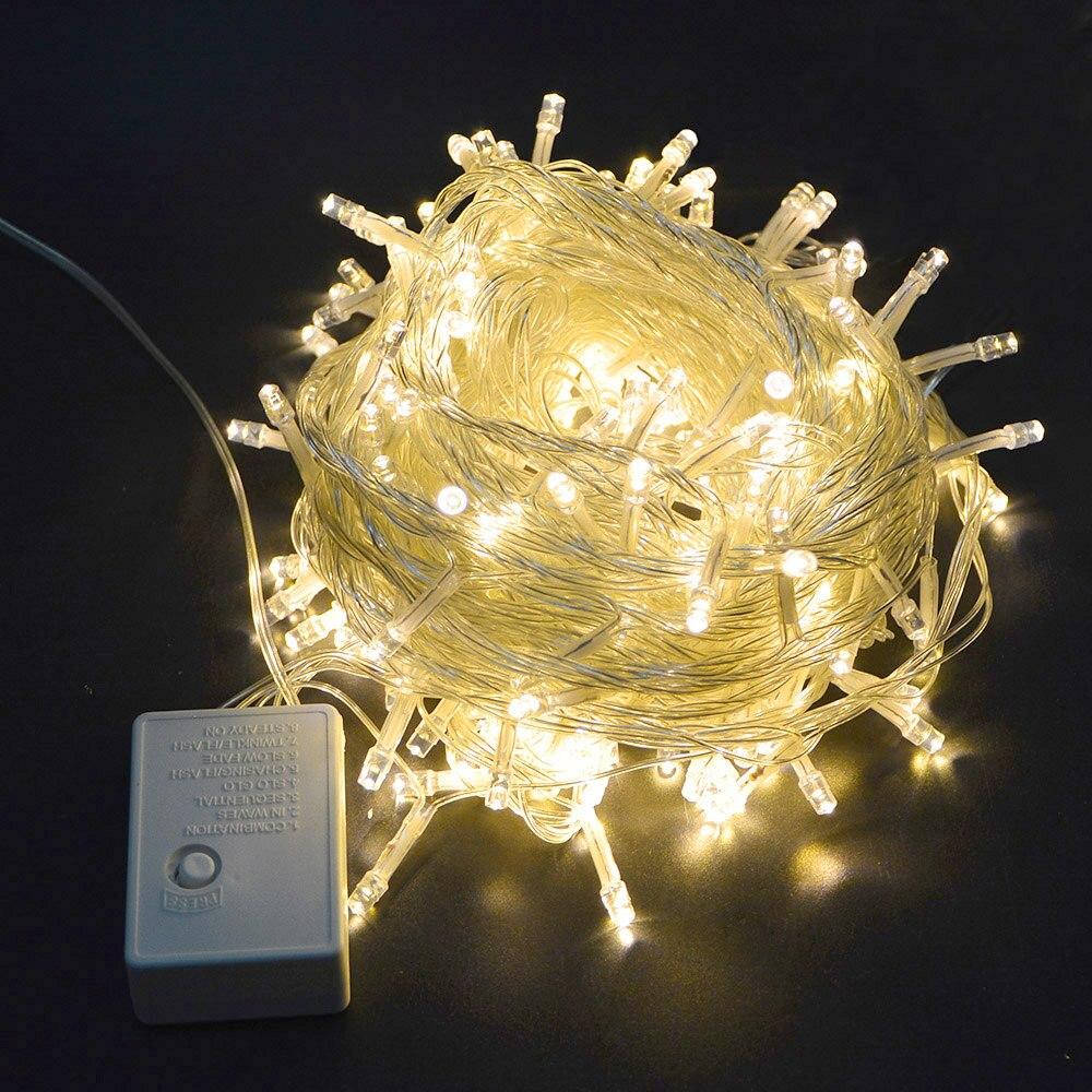 220 В ЕС/110 В США Plug 10 м RGB Гирлянды светодиодные светлый праздник света Водонепроницаемый Рождество Свадебная вечеринка украшения огни открытый