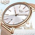 Женские кварцевые часы LIGE  модные водонепроницаемые часы из стали с сетчатым ремешком в стиле минимализма  повседневные спортивные часы