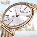 LIGE แฟชั่นผู้หญิงนาฬิกากันน้ำเหล็กตาข่ายสายคล้อง Minimalist สุภาพสตรีนาฬิกา Casual กีฬานาฬิกาควอตซ์นา...