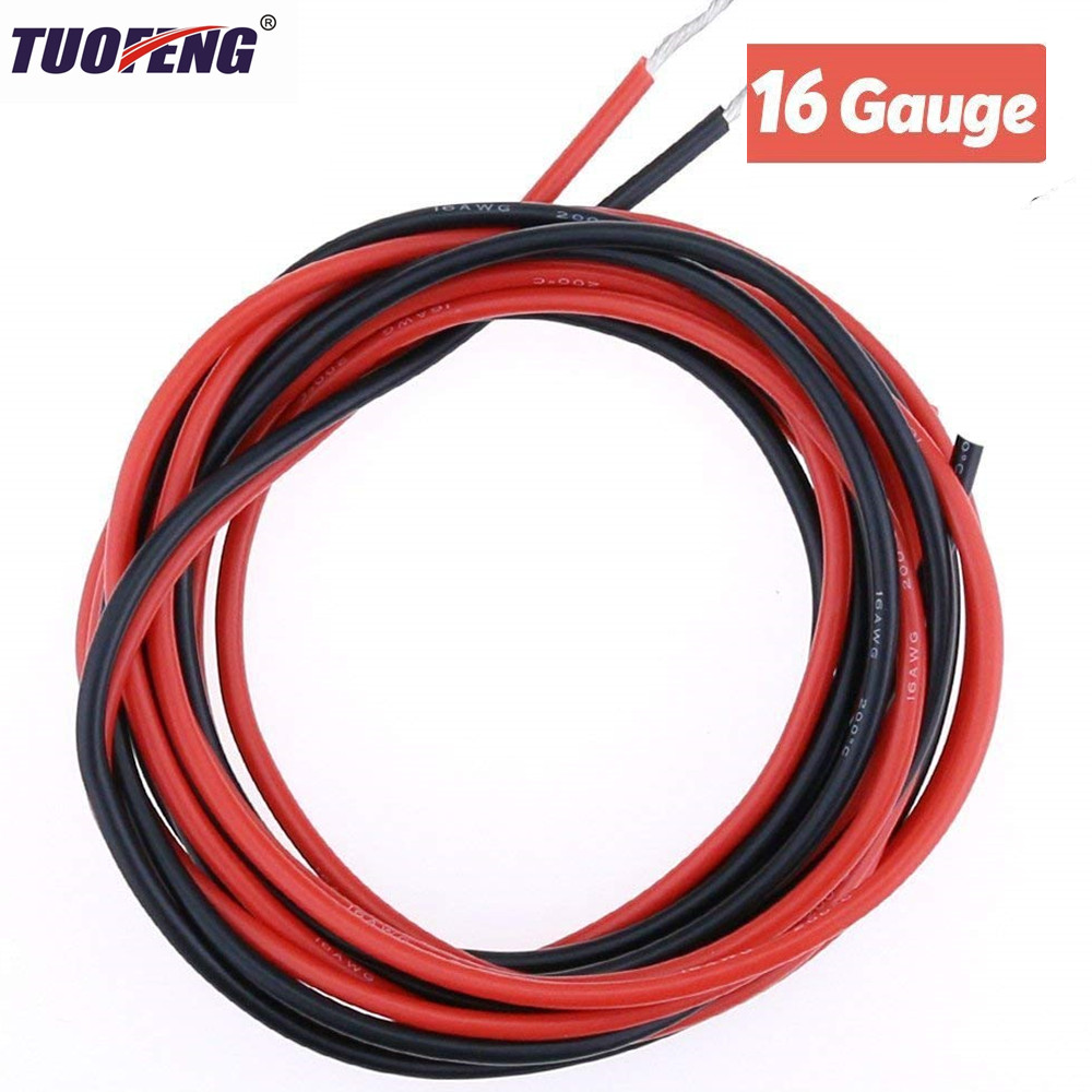 16 AWG Electrical Wire Black And Red Silicone Wire Hook Up wire Cable of Tinned copper wire High Temperature Resistant