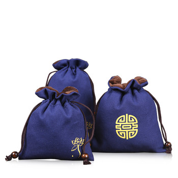 цена на Linen Blue Velvet Pouch Jewelry Drawstring Bag Makeup Packaging Travel Cosmetic Bag Pouch Portable Small Cup Storage Pouch 2pcs