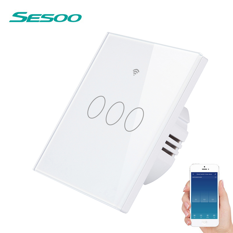 SESOO WIFI Smart Touch Switch APP Wireless Remote Light Wall Switch 3-Gang Crystal Glass Panel Works With Alexa / Google HomeSESOO WIFI Smart Touch Switch APP Wireless Remote Light Wall Switch 3-Gang Crystal Glass Panel Works With Alexa / Google Home